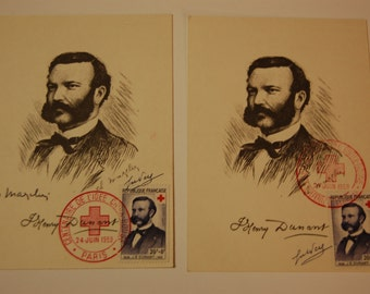 France-Semi Post Scott B328 Pair of First Day Postcards-Both Authenticated -One Artist Signed-1959