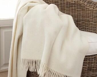 Blanket - white wool blanket - blankets - white blanket - warm wool blanket - throw blanket - white blanket
