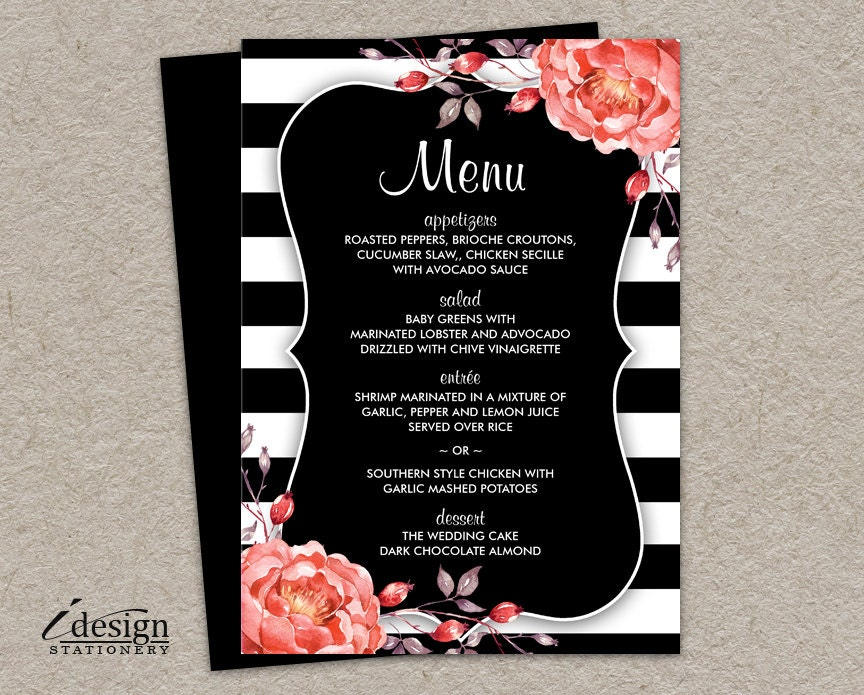 Red And Black Wedding Invitations Templates: Elegant Black And White Stripe Wedding Menu By