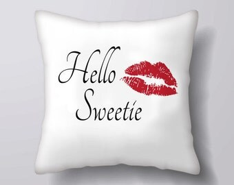 Hello Sweetie typography kiss   -Cushion Fabric Panel Or Case or with Filling
