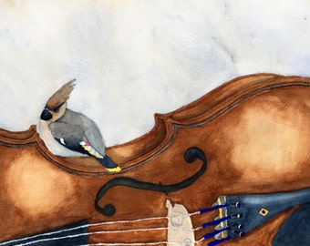 Set of four blank note cards of waxwing bird and violin