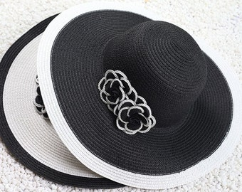 Black White Sun Hat Elegant Classic Style with Two camellias Woman Wide brimmed Hat