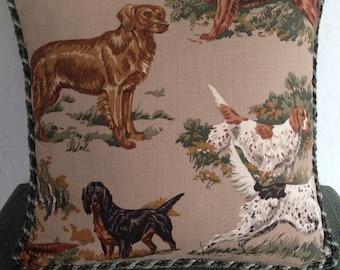 Kravet Setter Breed Dog 16 Inch Pillow Cover Tan or Dark Green