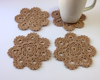 Handmade Home Decor Gift, CROCHET COASTERS, Beige Flower Coasters Set of 4, Crochet Gift For Women, Hand Crocheted Items, Ready to Ship