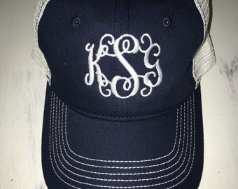 monogrammed cap, monogrammed hat, monogrammed trucker cap, monogrammed baseball cap