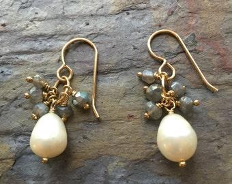Freshwater pearl dangle gold earrings with labradorite gemstones