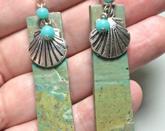 Seafoam Green Seascape Dangle Earrings, Ocean Earrings, Beach Earrings, shell earrings