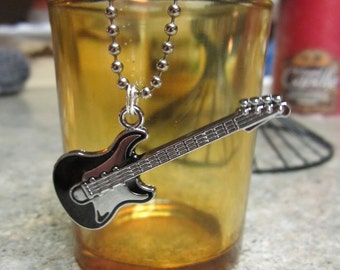 Bass Guitar Pendant and Chain - Black Enamel/Stainless - Free Shipping!