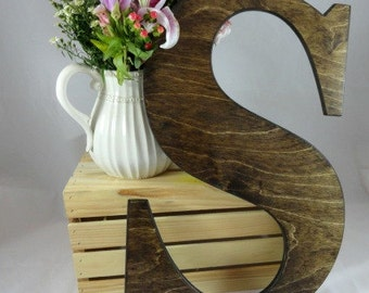 Large Uppercase Letter S Wedding Signs Rustic Wood Letters Signature Letters Guest Book Alternatives Baby Name Letters Home Decor Photo Prop
