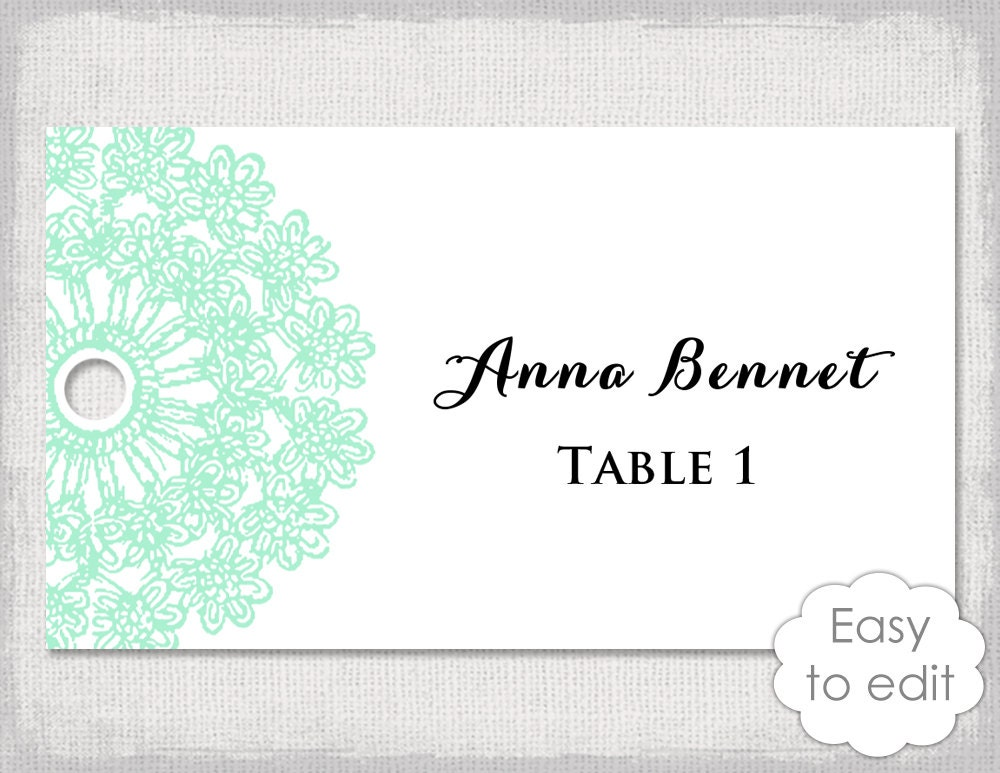 Green place cards | Etsy