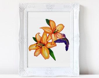 Wall art. Art print. Hummingbirds. watercolor print. Lillie's. Original art work. Watercolor painting. Home decor. Nature. Watercolour