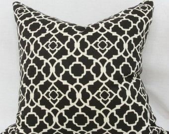 Black white decorative throw pillow cover 18x18 pillow cover Black white pillow Black cushion Black lattice pillow Black cream Waverly