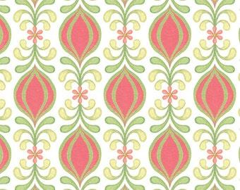 Geometric Bud Stripe - Pink by Quilting Treasures (24445-P) Cotton Fabric Yardage