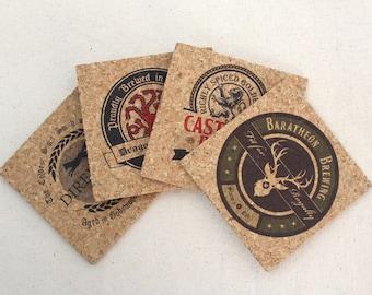 Game of Thrones Inspired Pub Style Craft Beer Cork Coaster Set of 4 (Square) Stark, Targaryen, Baratheon, Lannister