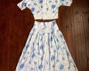 Sweet Floral Skirt Set