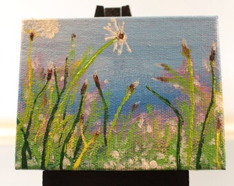 Mini Painting and Easel - Field of Dandelions (Office/Cubical Decor)