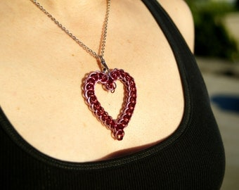 Handmade Chainmaille Heart Necklace