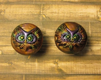 Owl Cabinet Knobs, Owl Knobs, Owl Drawer Pulls, Owl Drawer Knobs, Owl Cabinet Pulls, Owl Cabinet Handles, Owl Hardware-  Set of 4