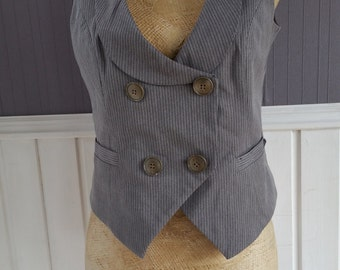 Striped Double Breasted Waistcoat, Ladies Pinstriped Waistcoat With Brass Buttons