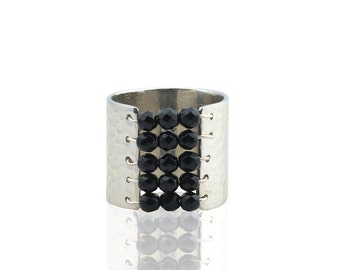 Sterling silver hammered ring,beaded ring,handmade ring,black onyx ring,wire wrapped ring,hammered band,wide ring