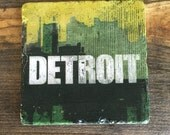 Detroit skyline distressed logo in Green, Coaster with cork backing