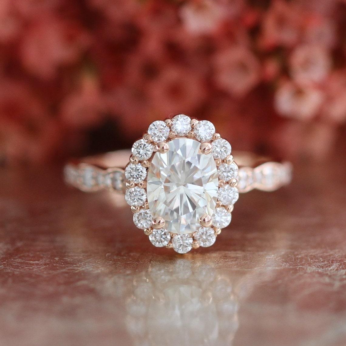 Halo Diamond Moissanite Engagement Ring in 14k Rose Gold