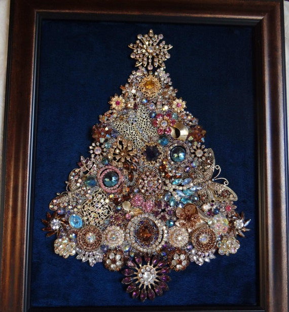 Jewel Christmas Tree Decorations: Framed JEWELRY CHRISTMAS TREE Vintage And New Rhinestone