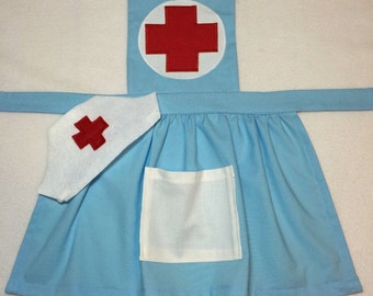 Girl's Nurse Costume, nurse apron,  girls nurse apron with hat. Perfect for pretend play. Add optional felt bandaids if desired.