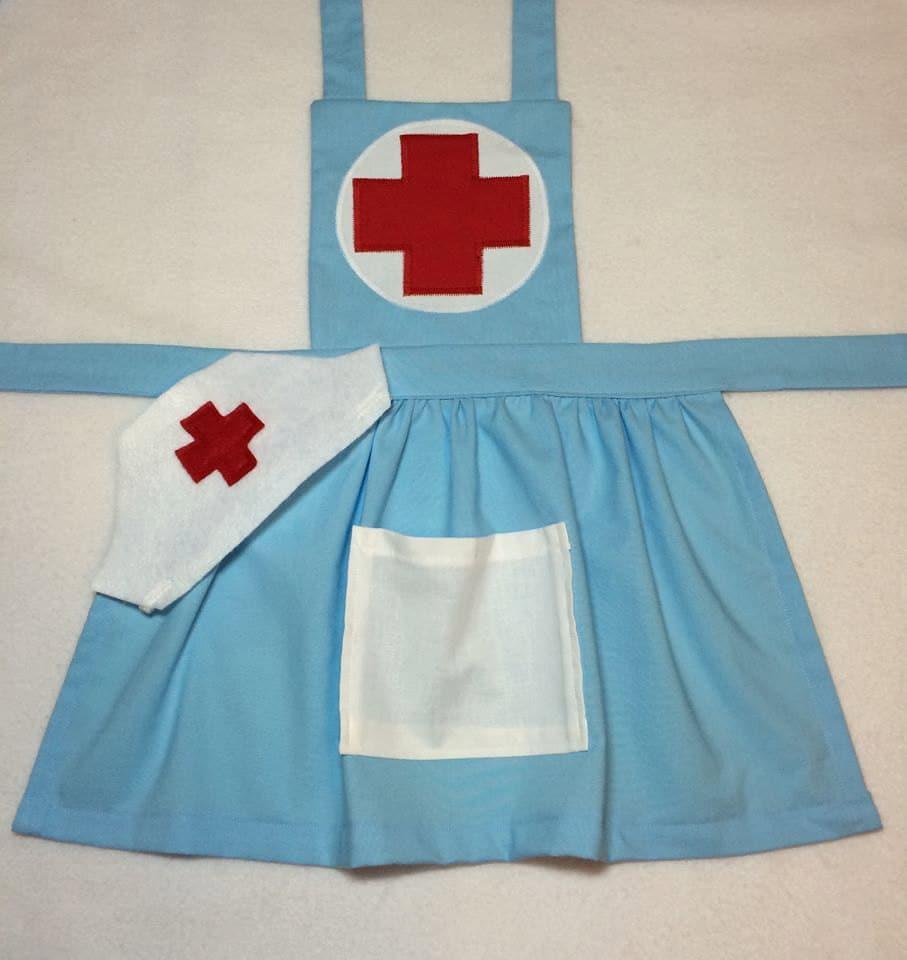 White pinafore apron ebay - Girl S Nurse Costume Nurse Apron Girls Nurse Apron With Hat Perfect For Pretend Play Add Optional Felt Bandaids If Desired