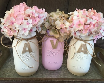 Girl Baby Shower Painted Mason Jars with Name