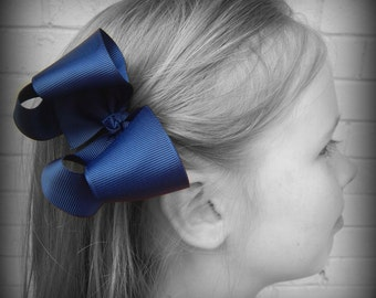 Navy Blue Hair Bow, Blue Boutique Hair Bow, Navy Blue Hairbow, Navy Blue Hair Clip, Boutique Hair Bow, School Hair Bows, Hairbows for Babies