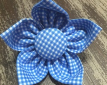 Flower Collar Attachment & Accessory for Dogs and Cats -  Blue Gingham