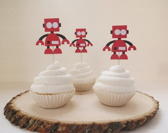 Robot and Gears - Cupcake Toppers - Set of 12 - Red