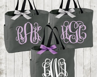 Personalized Bridal Tote Bag, Bridesmaid Tote Bag, Maid of Honor Tote Bag, Monogrammed Tote Bag (BR004)