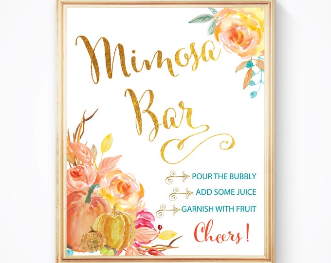 "Fall Mimosa Bar Sign 8x10""  // Mimosas // Monograms & Mimosas // Fall Bridal Shower // Gold Foil //  Made to Match CAPE BRETON COLLECTION"