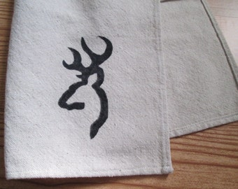 Kitchen Dish Hand Towel with Deer Buck Rustic Farmhouse Canvas Drop Cloth