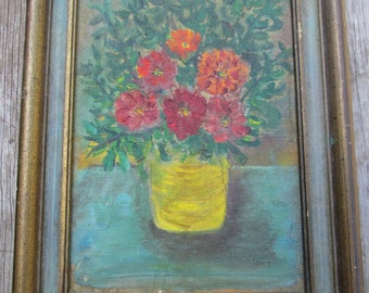 Vintage Charming Small Still Life Flowers  Oil Painting, Framed