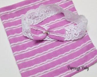 Ready to Ship Newborn Skirt and Headband Photography Prop Set, pink skirt and matching headband, 009