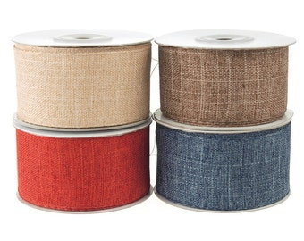 Cotton Woven Wired Edge Ribbon, 1-1/2-inch, 10-yard