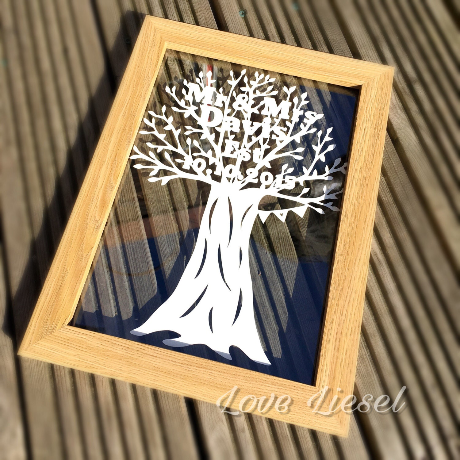 Paper Art Wedding Gift : Wedding gift paper cut art Mr and Mrs personalised gift