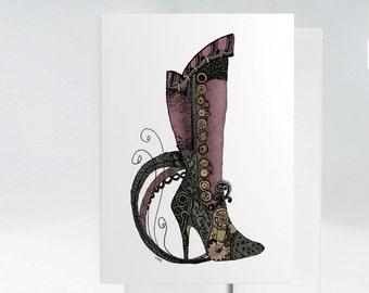 Victorian Boot Card, Hand Drawn Greeting Card, Steampunk Greeting Card, Victorian Shoe Card, Hand Drawn Card, Steampunk Wall Art 1013A