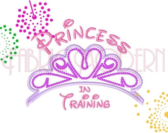 PRINCESS IN TRAINING, Machine Embroidery Design Applique', 5x7 and 6x8, disney, #736