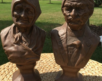 Vintage fisherman and wife busts, set of 2