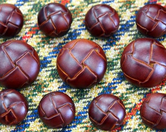 Knot Style Leather Buttons Set  for suit jacket, blazer, or sport coat. High quality!