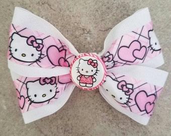 Hello Kitty Hair Bow. Hello Kitty Hair Clip. White Hello Kitty Bow.