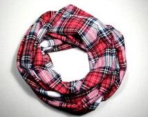 Single Loop Infinity Scarf Tartan Flannel Birthday Present, Christmas Gift