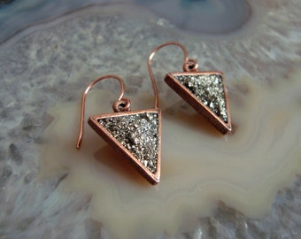 Crushed Pyrite Copper Earrings