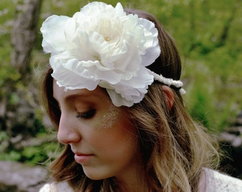 Bride to Be Lace Accented Flower Crown
