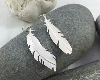 Large Asymmetrical Feather Earrings, recycled sterling silver, made in Maine by Valerie Redpath