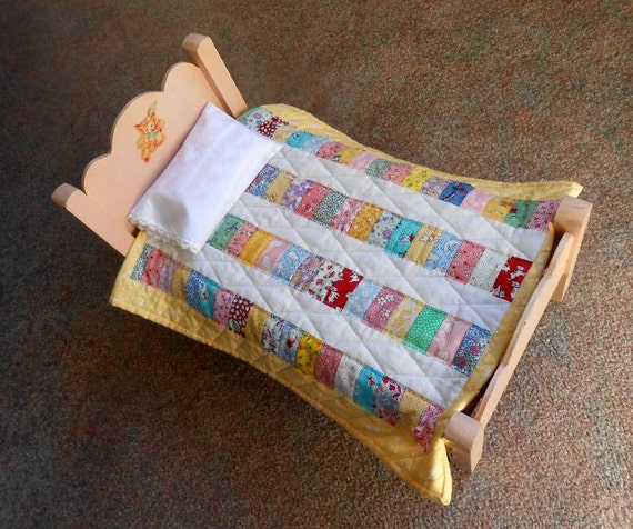 Large Vintage Doll Bed With Handmade Quilt And Pillow